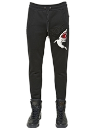 Philipp Plein Shark Patch On Cotton Jogging Pants Black