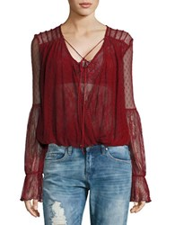 Free People Lace Mock Wrap Blouse Red