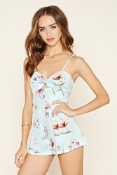 Forever 21 Tie Front Floral Cami Romper