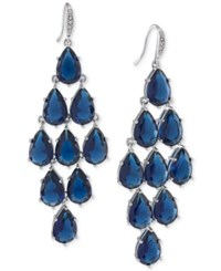 Carolee Silver Tone Blue Stone Chandelier Earrings