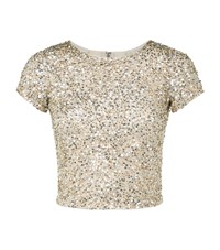 Alice Olivia Kelli Embellished Crop Top Female Gold