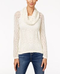 Inc International Concepts Petite Metallic Cowl Neck Open Knit Sweater Only At Macy's Buttercream