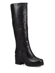 Schutz Kyara Lee Tall Leather And Faux Fur Boots Black