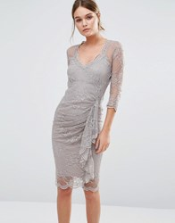 Body Frock Fifi Sculpting Dress In Lace With Ruffle Taupe Brown
