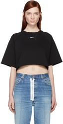 Off White Black Cropped Logo Pullover