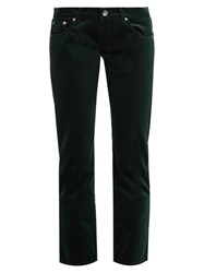 Maison Martin Margiela Low Rise Cropped Velvet Trousers Green