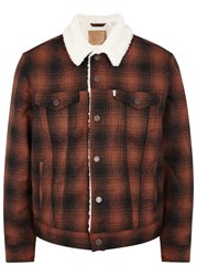 Levi's The Sherpa Trucker Checked Flannel Jacket Black