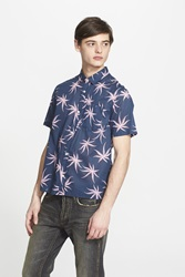 Marc By Marc Jacobs Trim Fit Palm Print Short Sleeve Sport Shirt Deep Indigo Miulti