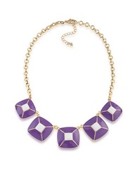 1St And Gorgeous Enamel Pyramid Pendant Statement Necklace In Purple White Gold
