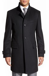 Men's Big And Tall Boss 'Sintrax' Trim Fit Overcoat Black