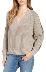 Leith Women's Ribbed Cold Shoulder Sweater Tan Etherea