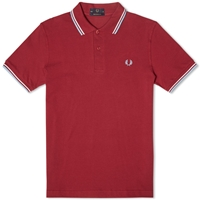 Fred Perry Original Twin Tipped Polo Maroon White And Ice