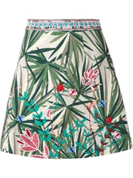Elle Sasson Embroidered A Line Skirt Green