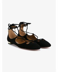Aquazzura Dancer Suede Ballerina Flats Black Almond