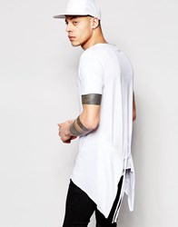 Asos Super Longline T Shirt With Tie Sides And Handkerchief Hem White
