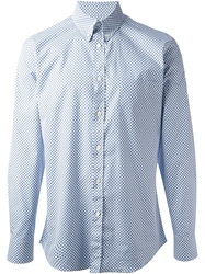 Alexander Mcqueen Skull Print Button Down Collar Shirt Blue