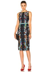 Peter Pilotto Stretch Viscose Kia Dress In Black Abstract Floral Black Abstract Floral