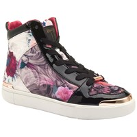 Ted Baker Paryna High Top Flat Trainers Purple Print