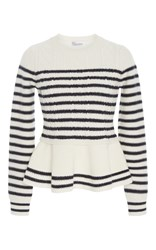 Red Valentino Peplum Striped Sweater White