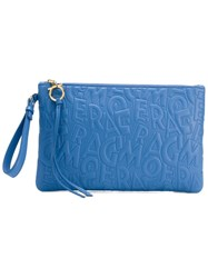 Salvatore Ferragamo Large Embossed Logo Clutch Blue