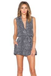 Equipment Animal Printed Sleeveless Earl Romper Black And White