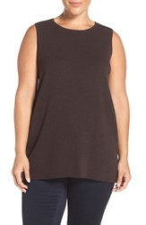 Eileen Fisher Plus Size Women's Washable Wool Crepe Round Neck Long Tank Clove