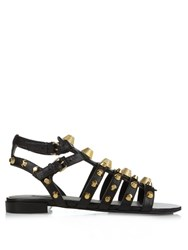Balenciaga Giant Studded Leather Gladiator Sandals Black