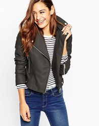 Asos Ultimate Biker Jacket With Piped Detail Grey