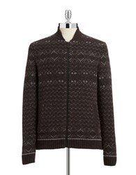 Black Brown Fairisle Zip Front Sweater Dark