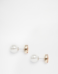 Asos Crystal Faux Pearl Double Earrings Peach