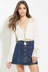 Forever 21 Lacy Lace Up Crop Top Cream