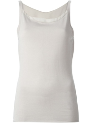 Armani Collezioni Sheer Detail Tank Top Grey