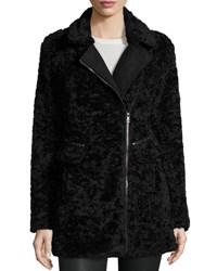 Catherine Malandrino Asymmetric Faux Fur Wool Blend Coat Black Blac