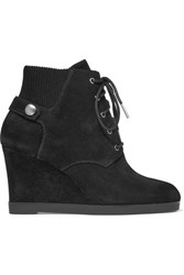 Michael Michael Kors Carrigan Suede Wedge Ankle Boots Black