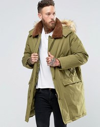 Asos Parka Jacket With Borg Collar In Khaki Khaki Green