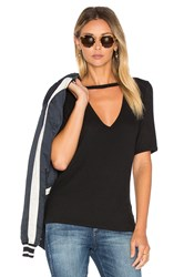 Lna Ribbed Cutout V Tee Black