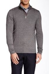 Report Collection Faux Suede Trim Half Zip Sweater Gray