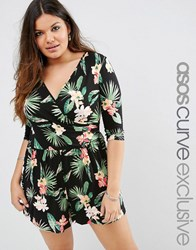 Asos Curve Wrap Front Playsuit With 3 4 Sleeve In Tropical Floral Print Print Multi