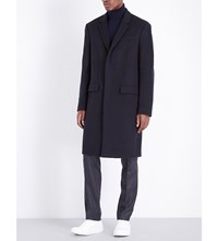 Joseph Single Breasted Wool And Cashmere Blend Coat Navy