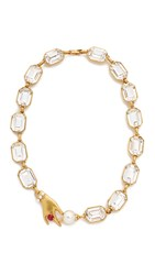 Marc Jacobs Hand Crystal Necklace Antique Gold