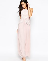 Little Mistress Maxi Dress With Floral Embroidery Pink