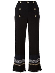 Sonia Rykiel Striped Flared Trousers Black