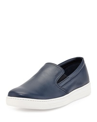 Prada Leather Slip On Sneaker Navy