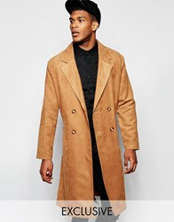 Reclaimed Vintage Trench Coat In Suedette Tan