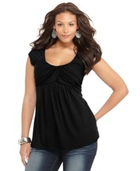 Soprano Plus Size Cap Sleeve Ruched Empire Top Black