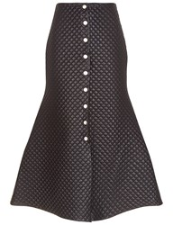 A.W.A.K.E. Black Faux Leather Quilted Button Skirt