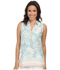 Tommy Bahama Biscus Border Top Heavenly Peace Women's Sleeveless Blue