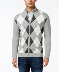 Club Room Men's Zip Front Argyle Sweater Only At Macy's Light Grey Heather