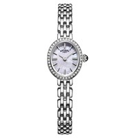 Rotary Women's Cocktail Bracelet Strap Watch Silver Mother Of Pearl