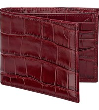 Aspinal Of London Billfold Mick Croc Leather Wallet Bordeaux
